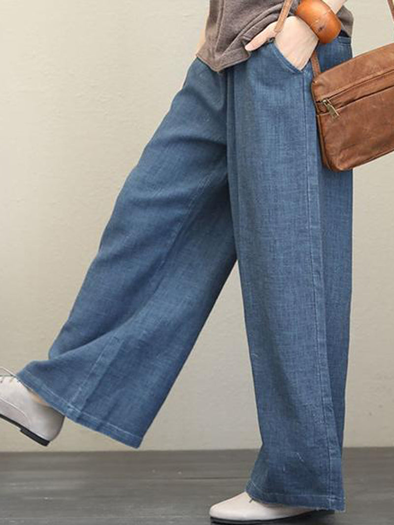 Plus Size Solid Pockets Loose Daily Pants