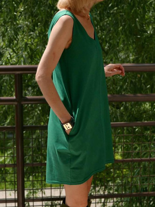 Sleeveless Solid Cotton Deep V-Neck Dresses