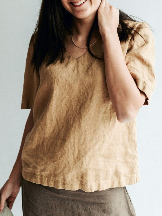 Short Sleeve V Neck Linen Shirts & Tops