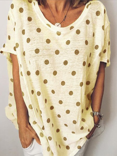 Round Neck Short Sleeve Casual Polka Dots Shirts & Tops