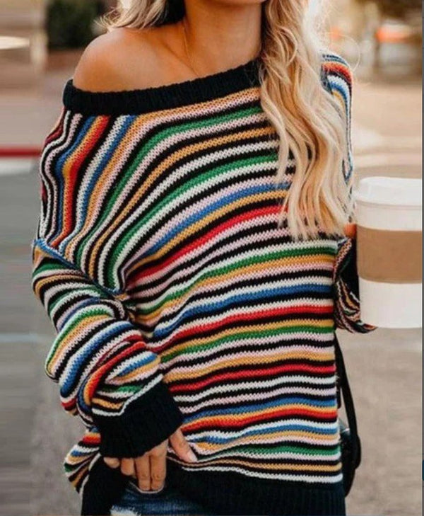 Long Sleeve Off Shoulder Color-Block Knitted Outerwear