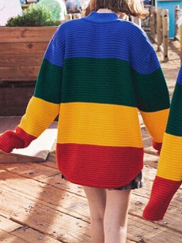Color-block Crew Neck Casual Striped Long Sleeve Sweater