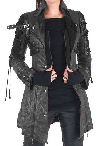 Plus size Long Sleeve Leather Outerwear