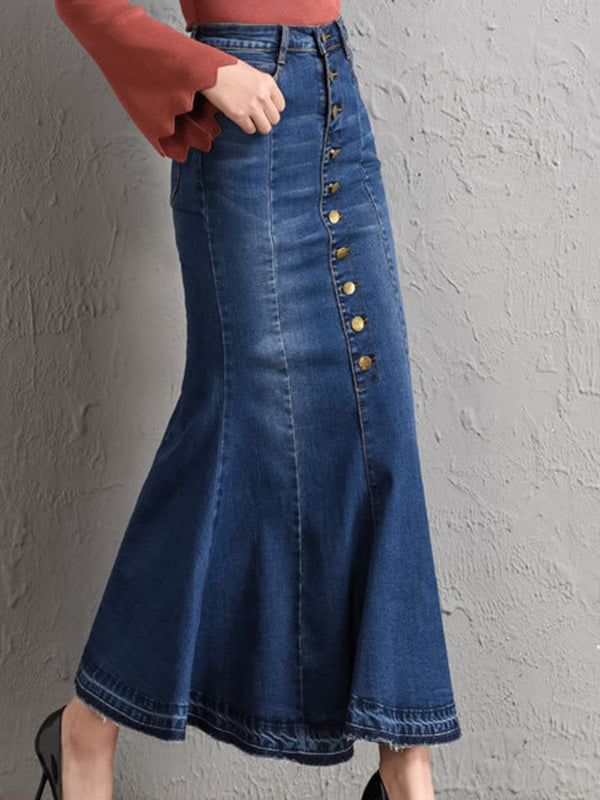 Blue Paneled Casual Skirts