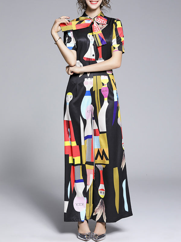 Tie-Neck Abstract Half Sleeve Casual One-Pieces