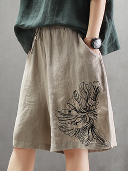 Summer Solid Embroidered Pock Wide Leg Linen Pants