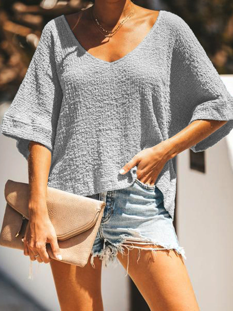 Plain Short Sleeve Casual V Neck Shirts & Tops