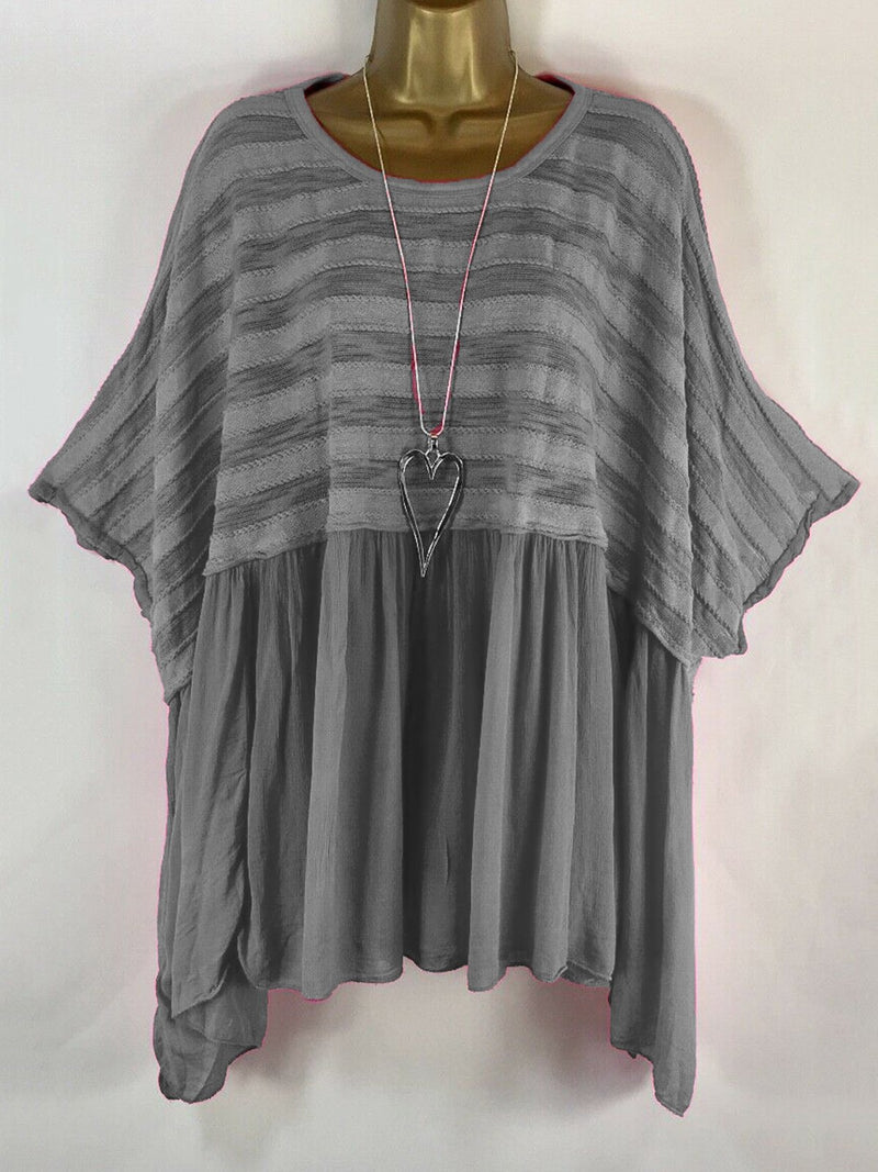 Striped Short Sleeve Casual Paneled Blouse