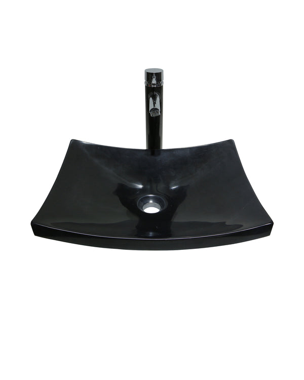 Black Large Curved Rectangular Marble Stone Basin Sink  Product No. EK6039