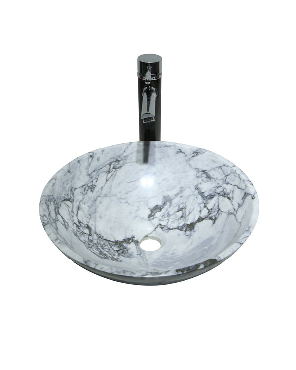 CARRARA Kala White Marble Stone Round Basin Sink  Product No. EK6063