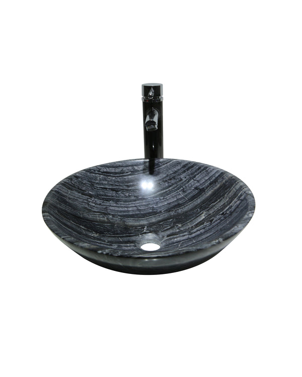 Antique Wood Grey Marble Stone Round Basin Sink Product No. EK6111