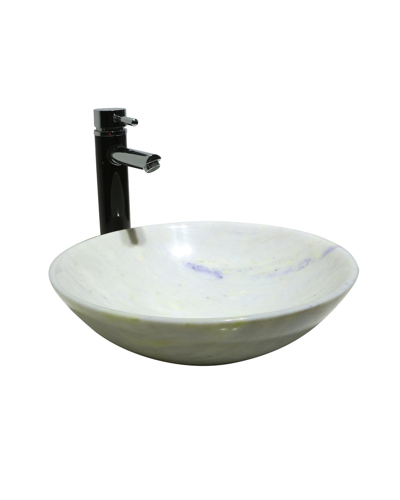 Cloudy White Marble Round Basin Sink  Product No. EK6090