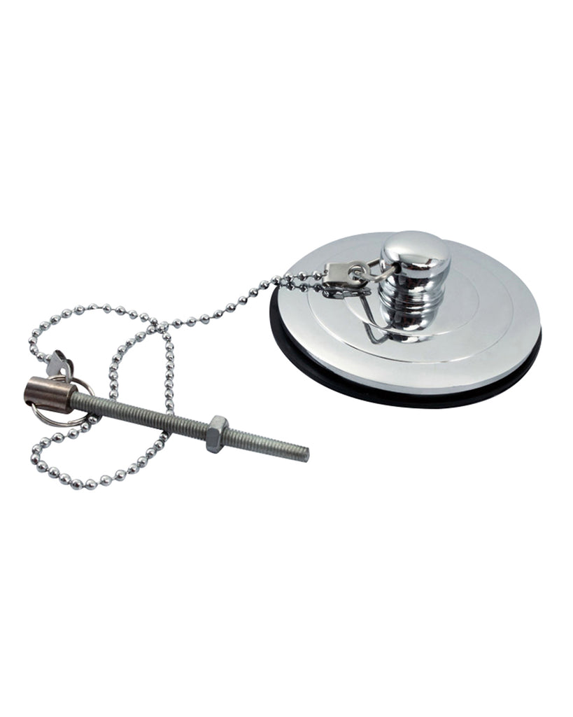 BATHTUB DRAIN STOPPER COVER PLUG BRASS CHROME WITH CHAIN & SCREW AK91
