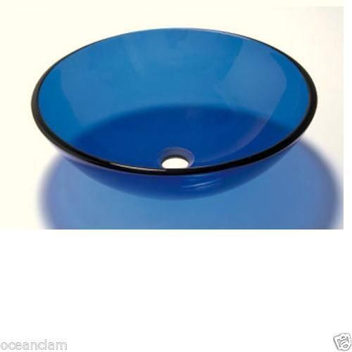 Blue Transparent ROUND GLASS BASIN SINK Product No. ZK 703