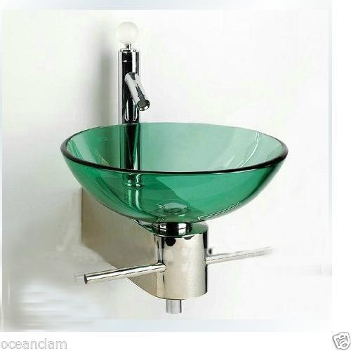 green Colour glass basin Wall mounted chrome stand set Product No. ZK323C