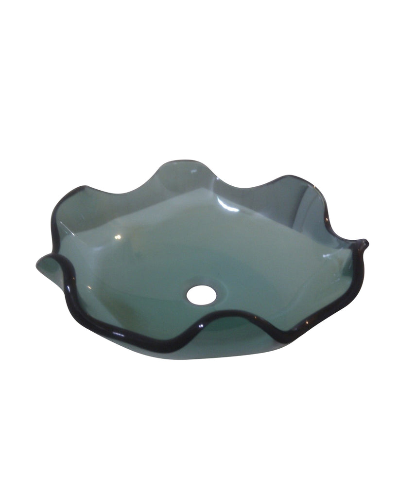 GLASS BASIN GREEN COUNTERTOP FLUTED WAVE PETALS FLOWER BOWL ZK081