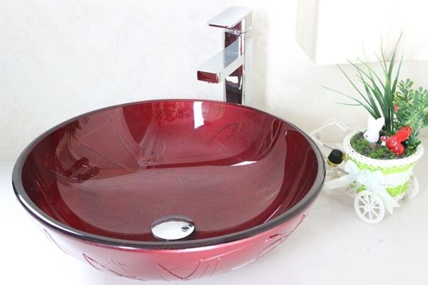 BATHROOM COUNTERTOP RED ROUND GLASS BASIN SINK & Tap Mixer ZK 263s