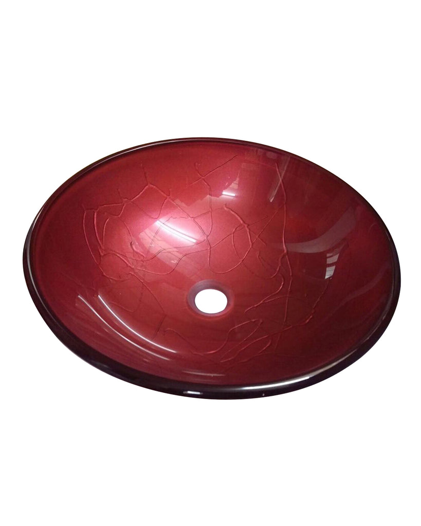BATHROOM COUNTERTOP RED ROUND GLASS BASIN SINK Product No. ZK 263