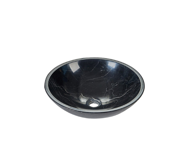Nero Marquina Black Marble Round Basin Sink  Product No. EK6014