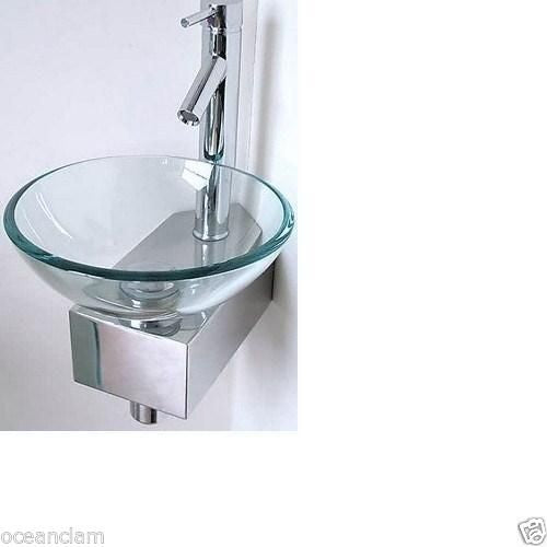 Round Clear Glass Basin Small Corner  metal stand Product No. ZK 331
