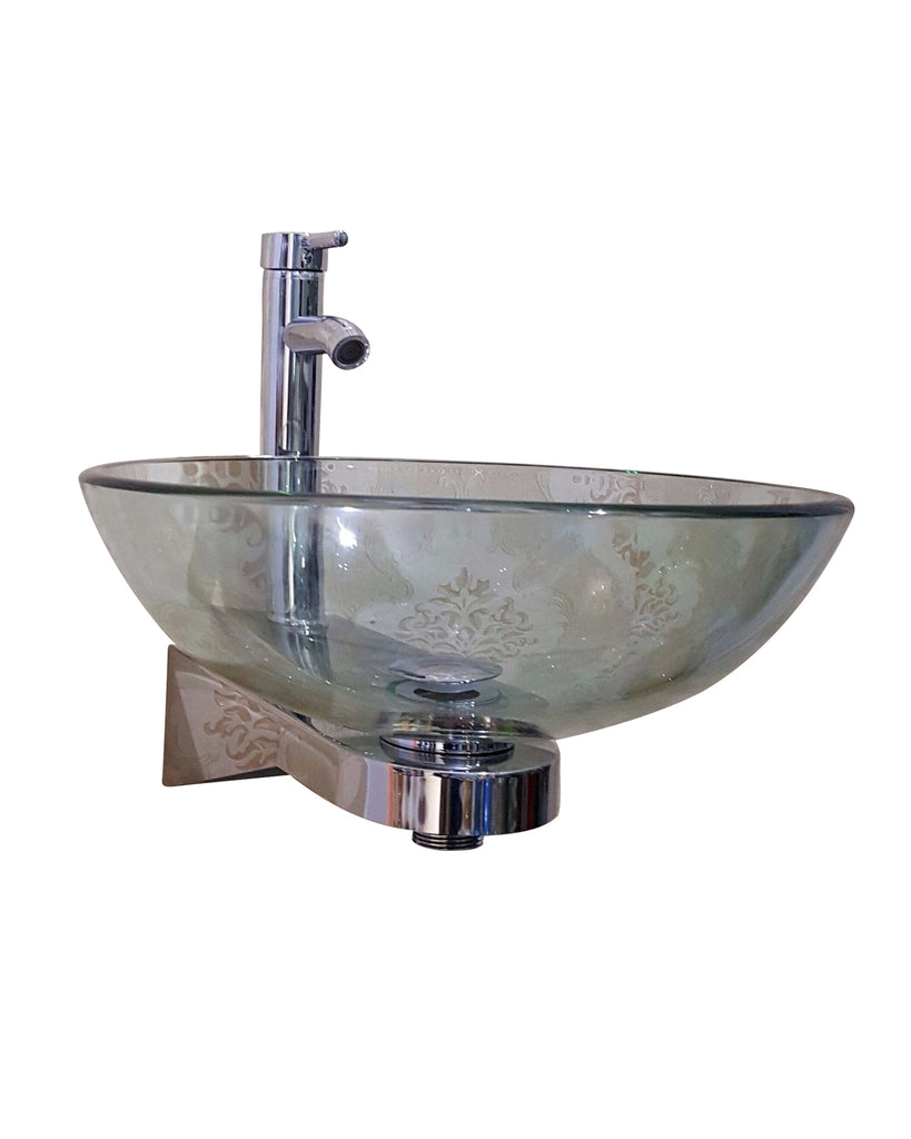 Stainless Steel Wall mounted Stand  CLEAR round glass basin  Product No. ZK399