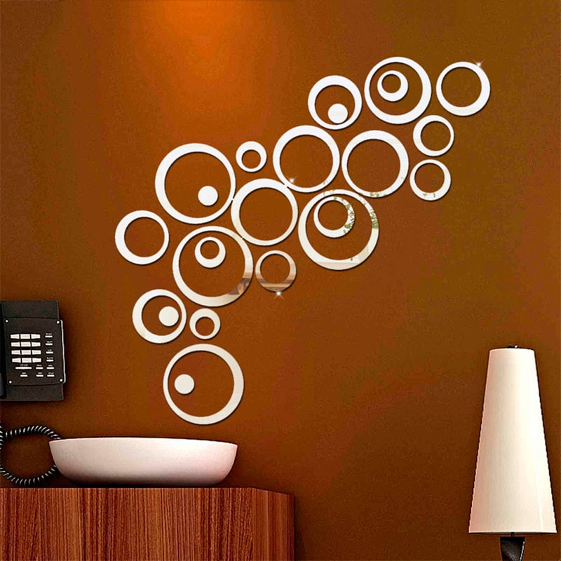 24pcs/set 3D DIY Circles Wall Art