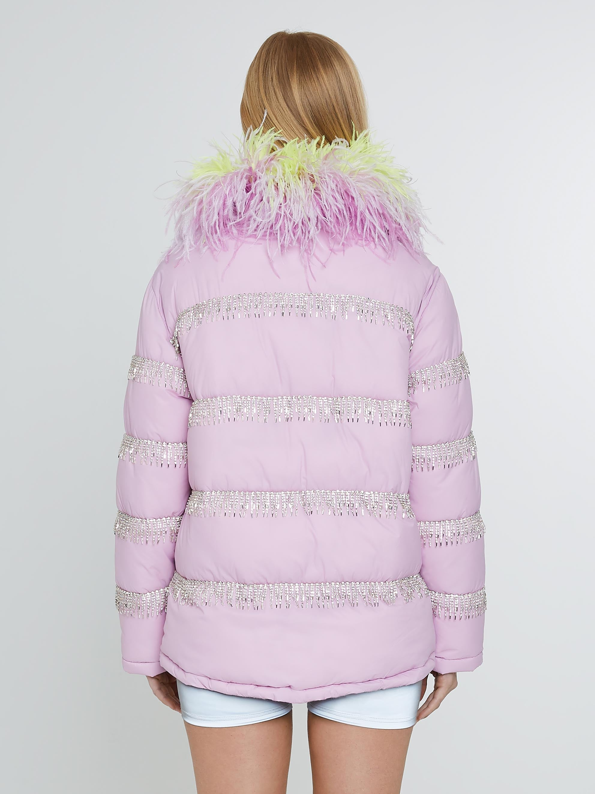Lilac puffer jacket with crystal fringe yellow feathers