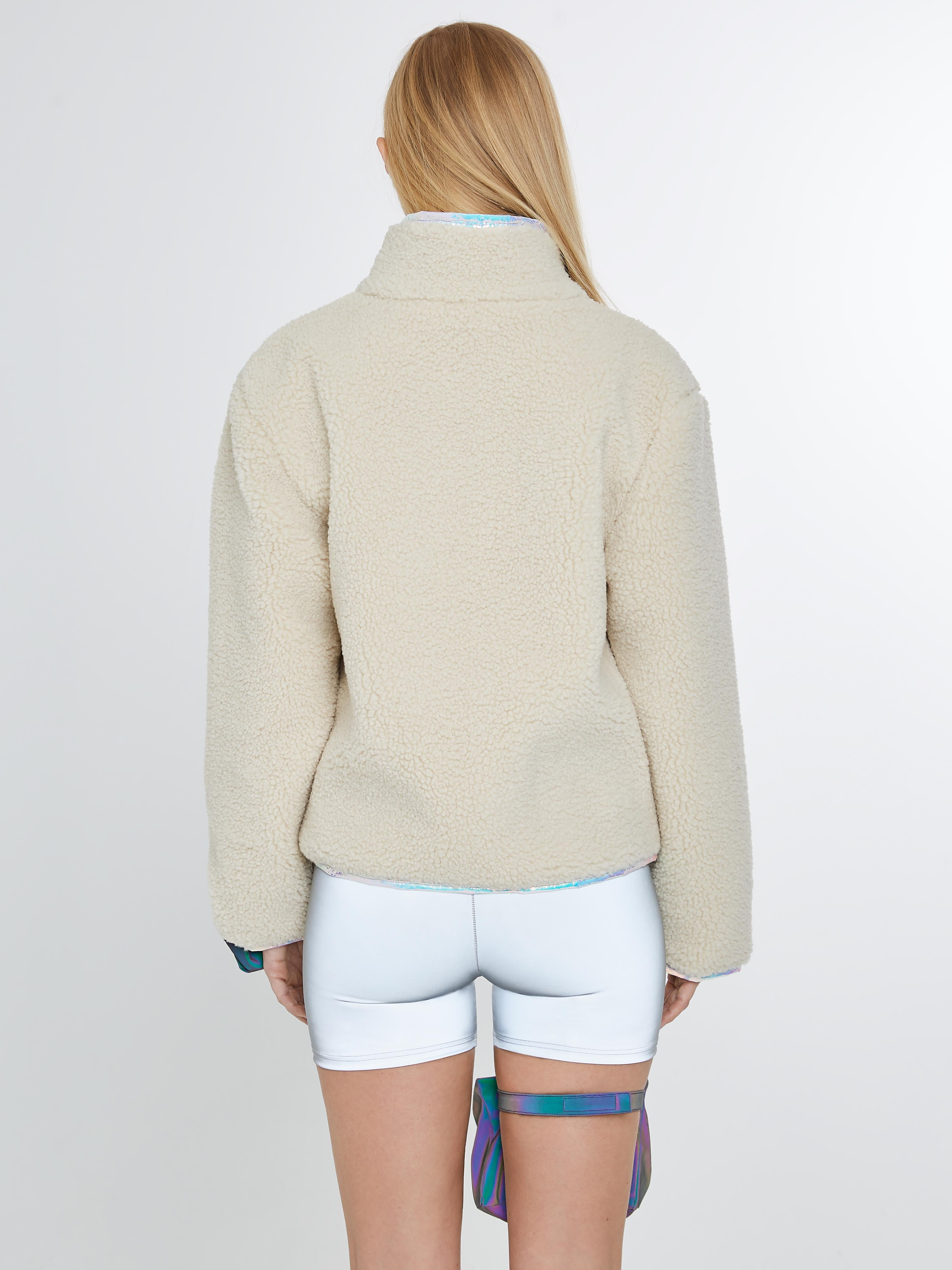 Shearling sweater with iridescent piping