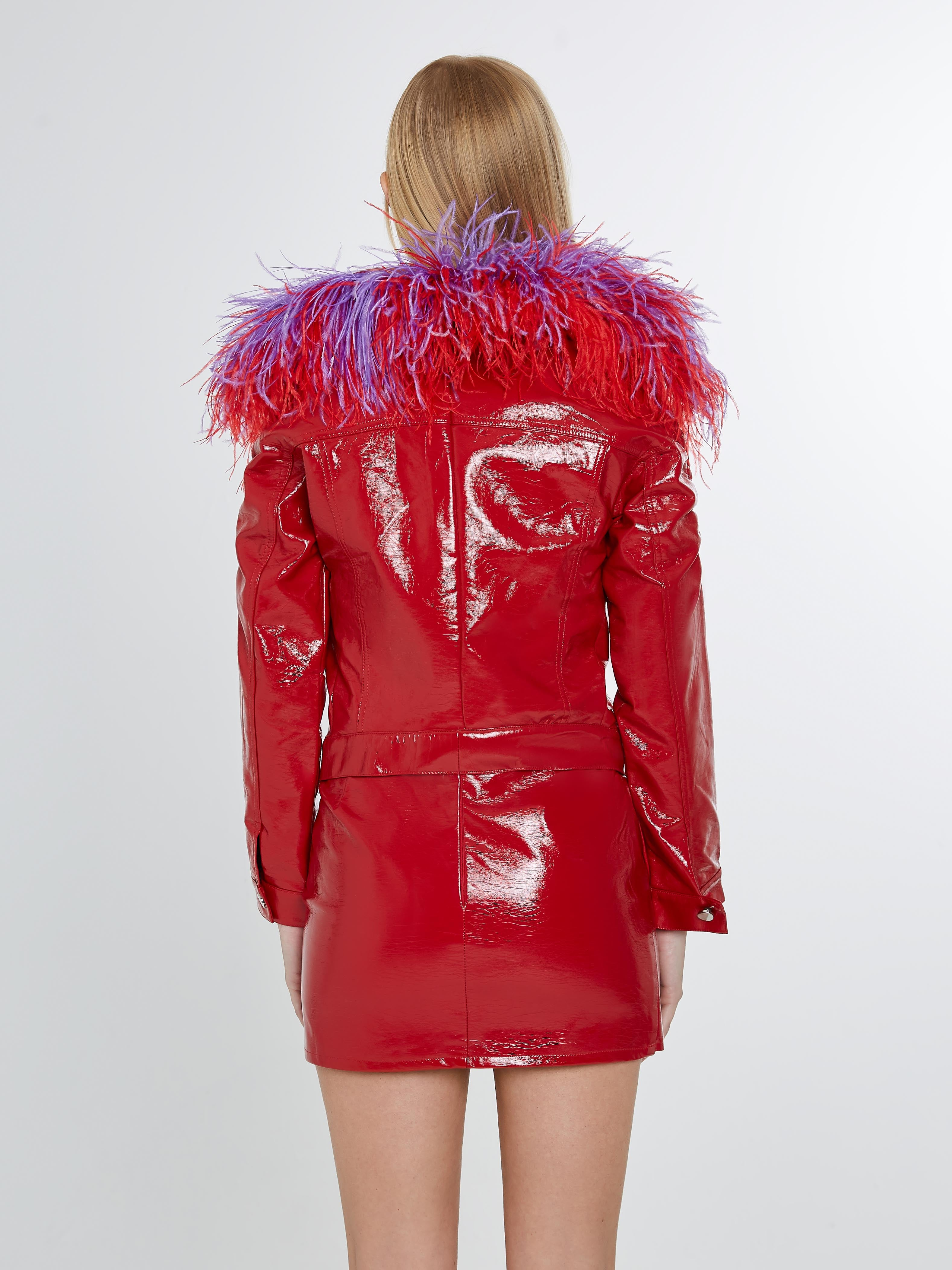 Red vinyl cropped jacket with purple/ red feathered collar