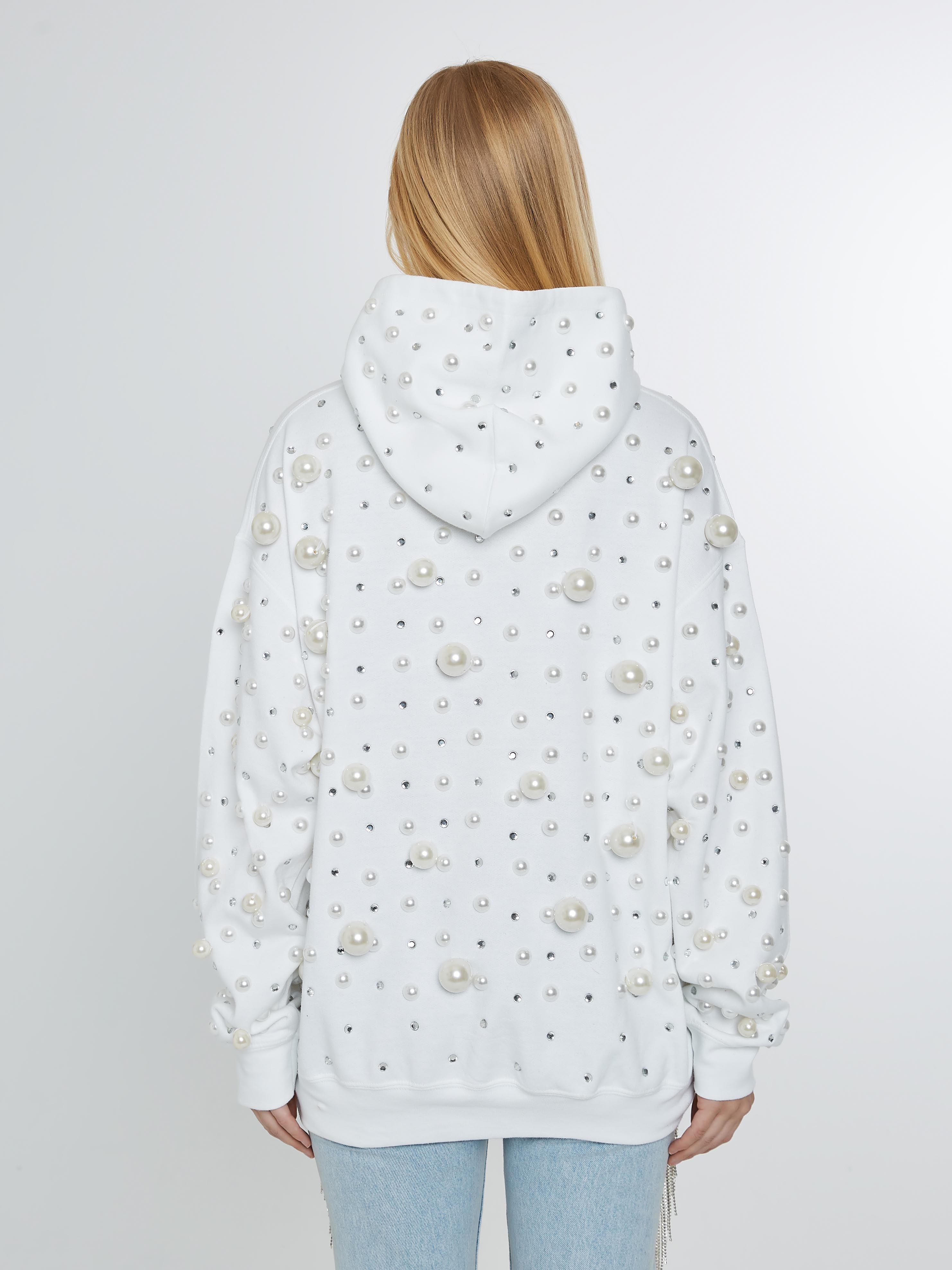 White hoodie with pearls