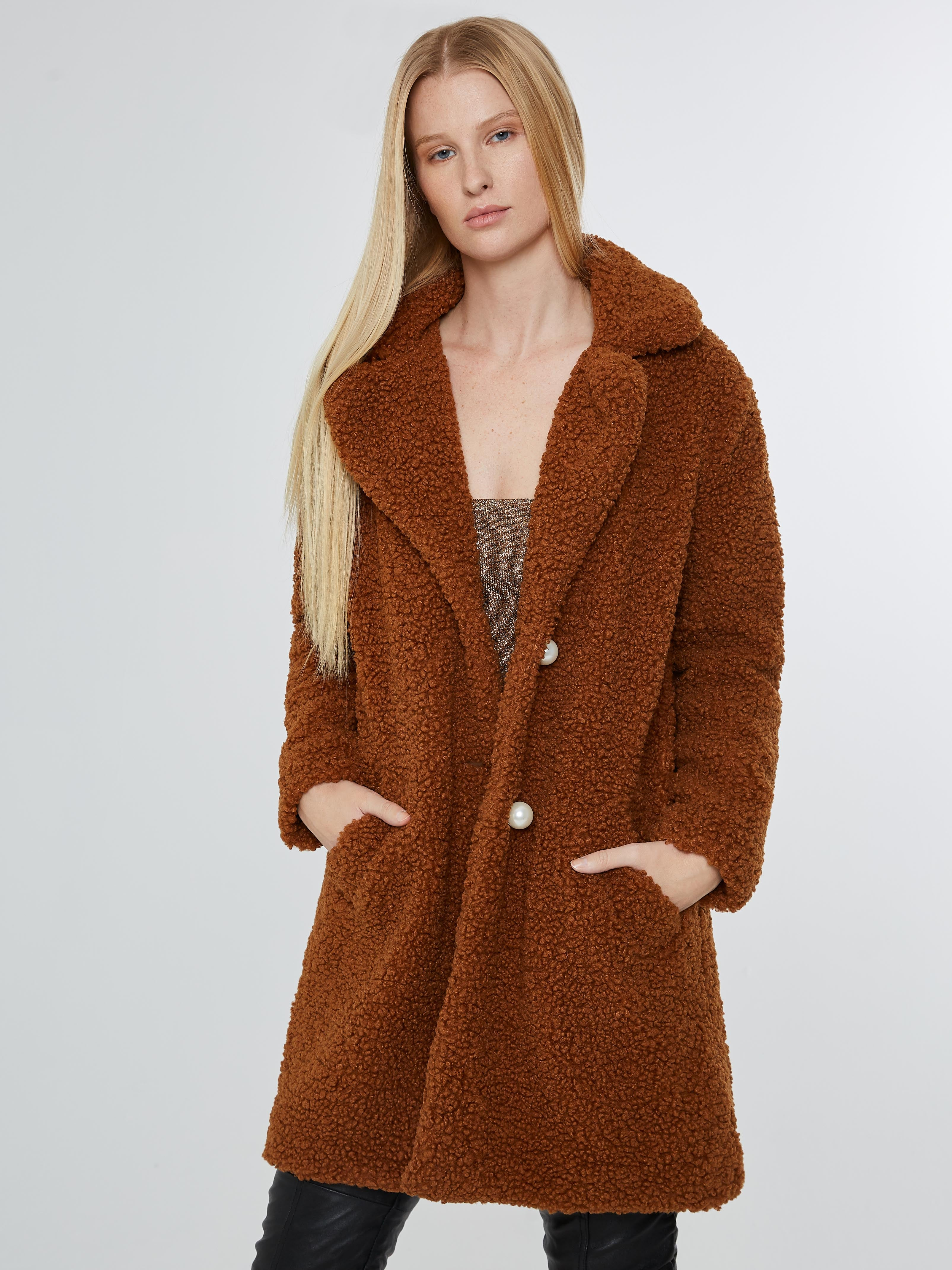 Chocolate brown faux shearling coat with pearl buttons