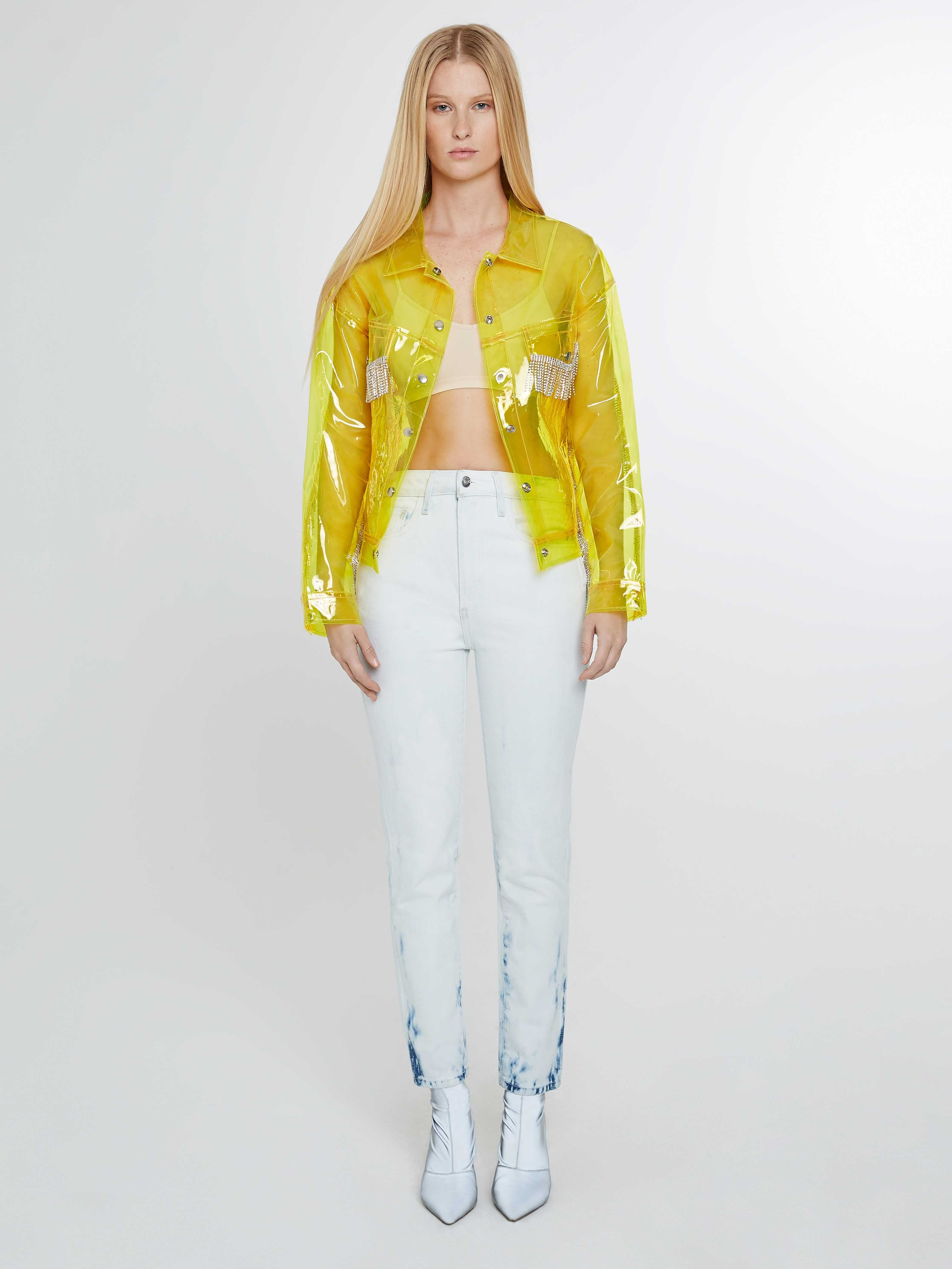 Plastic yellow trucker jacket with fringe