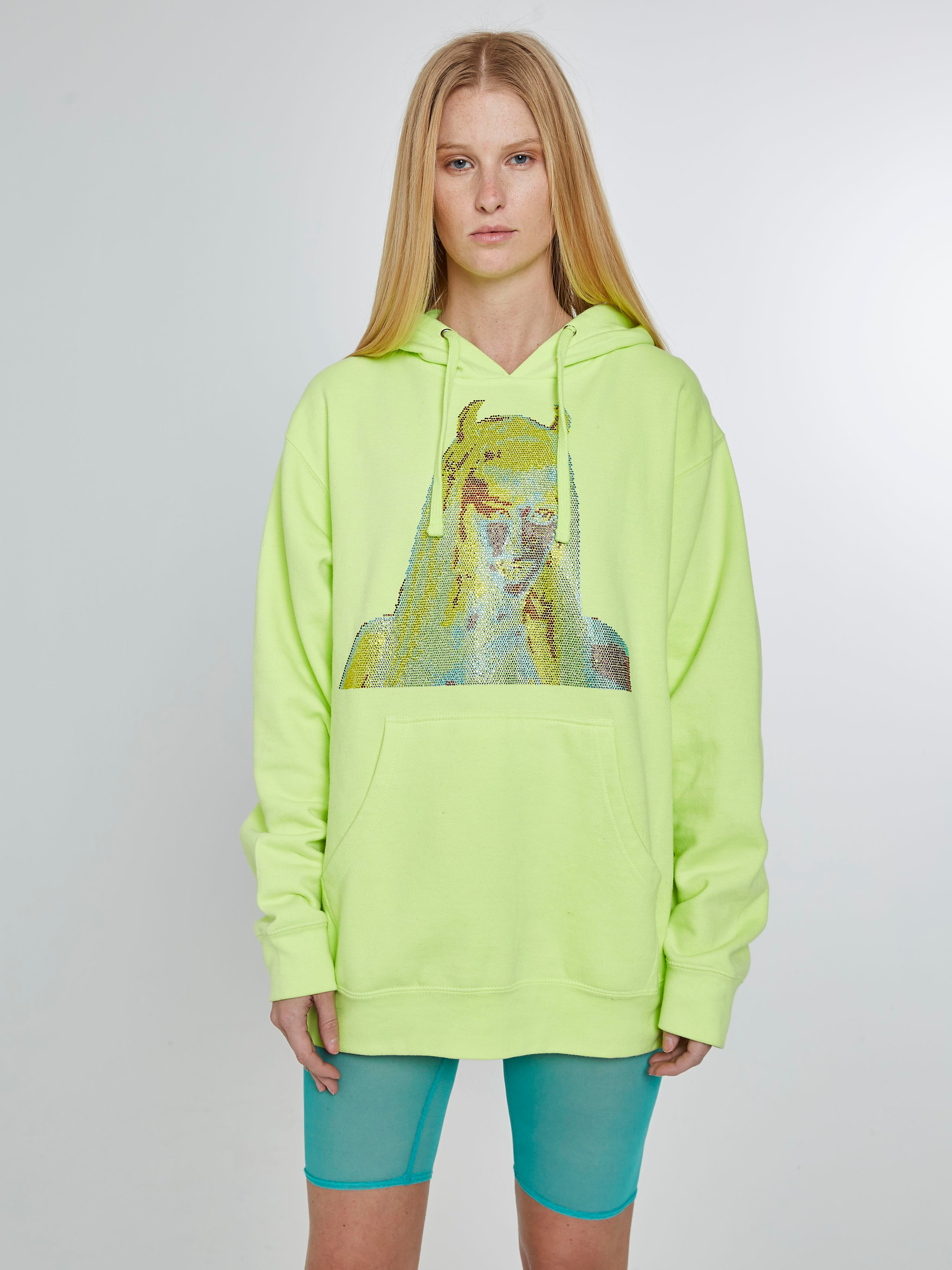 Devil girl neon yellow hoodie with crystals