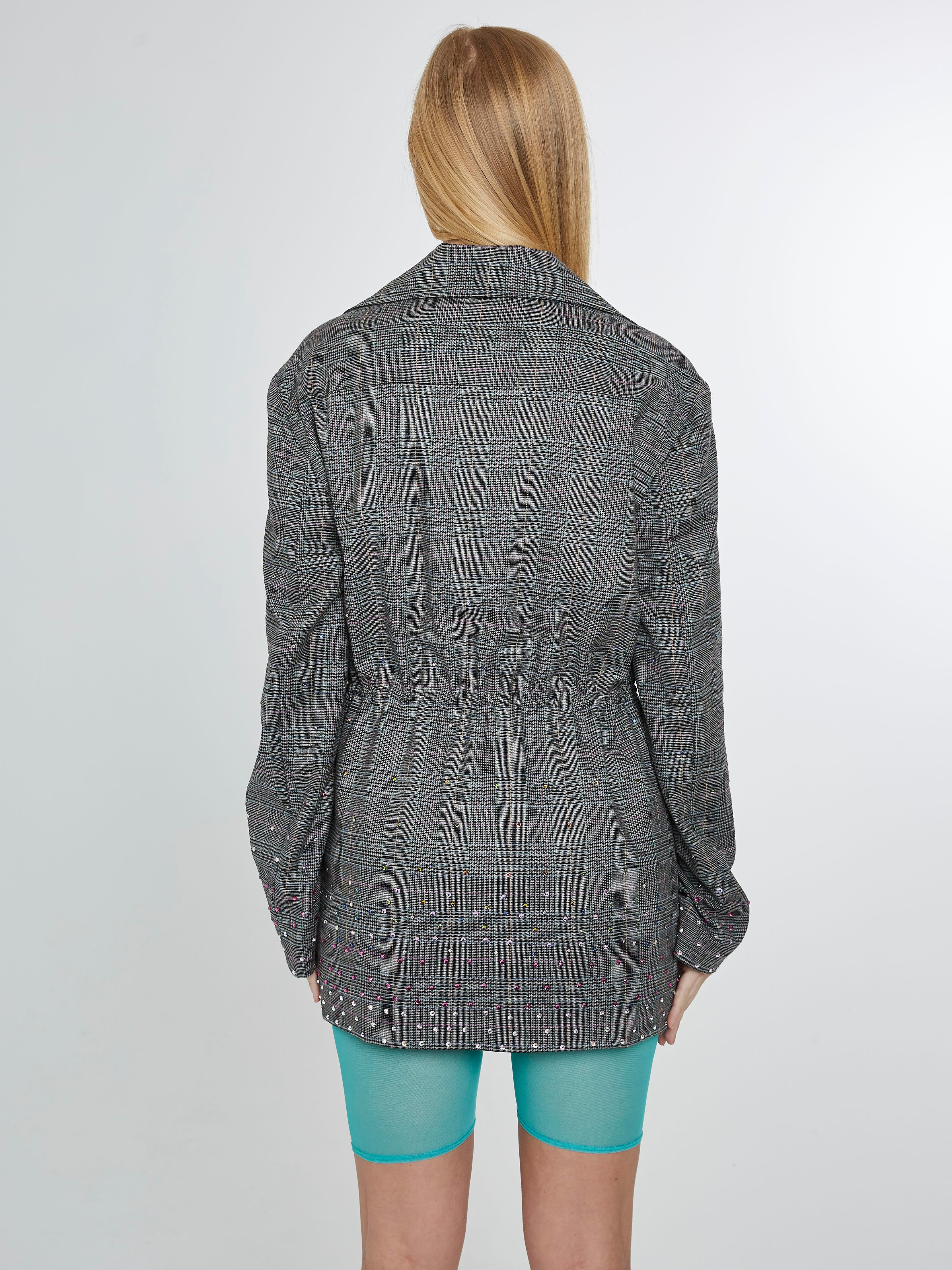 Sporty plaid blazer with multicolored crystals