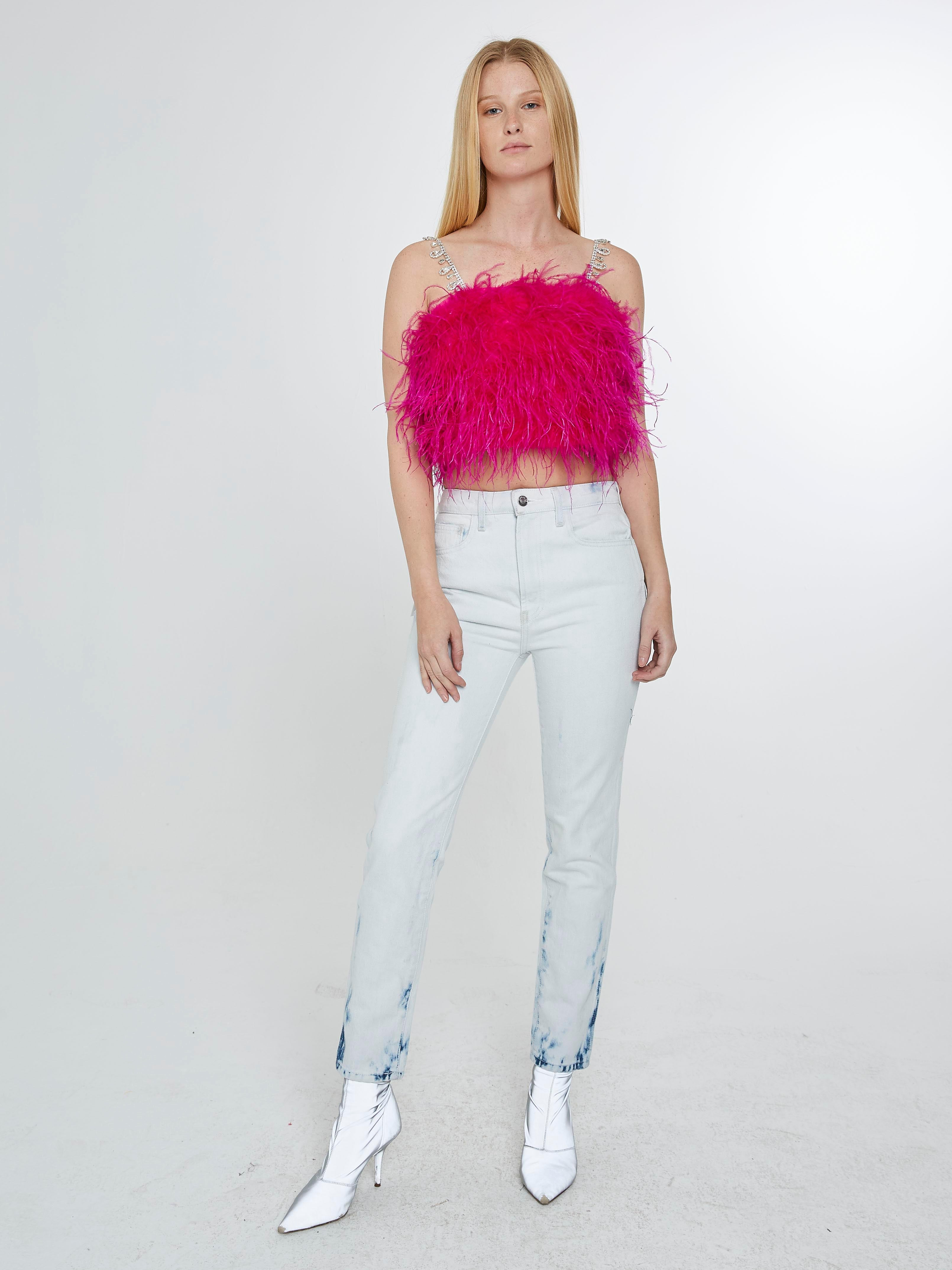 Pink feather top with crystal straps