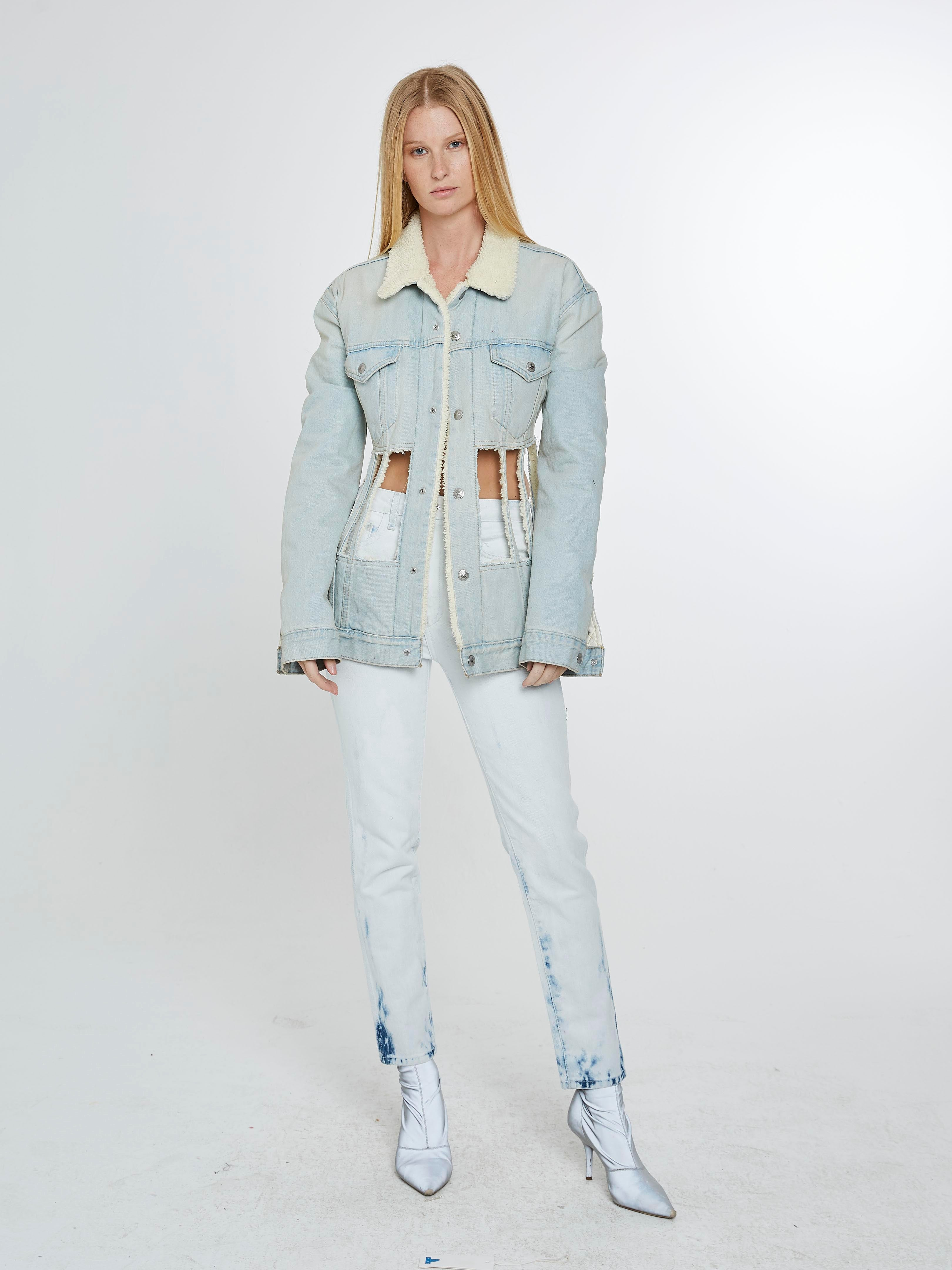 Denim shearling corset jacket