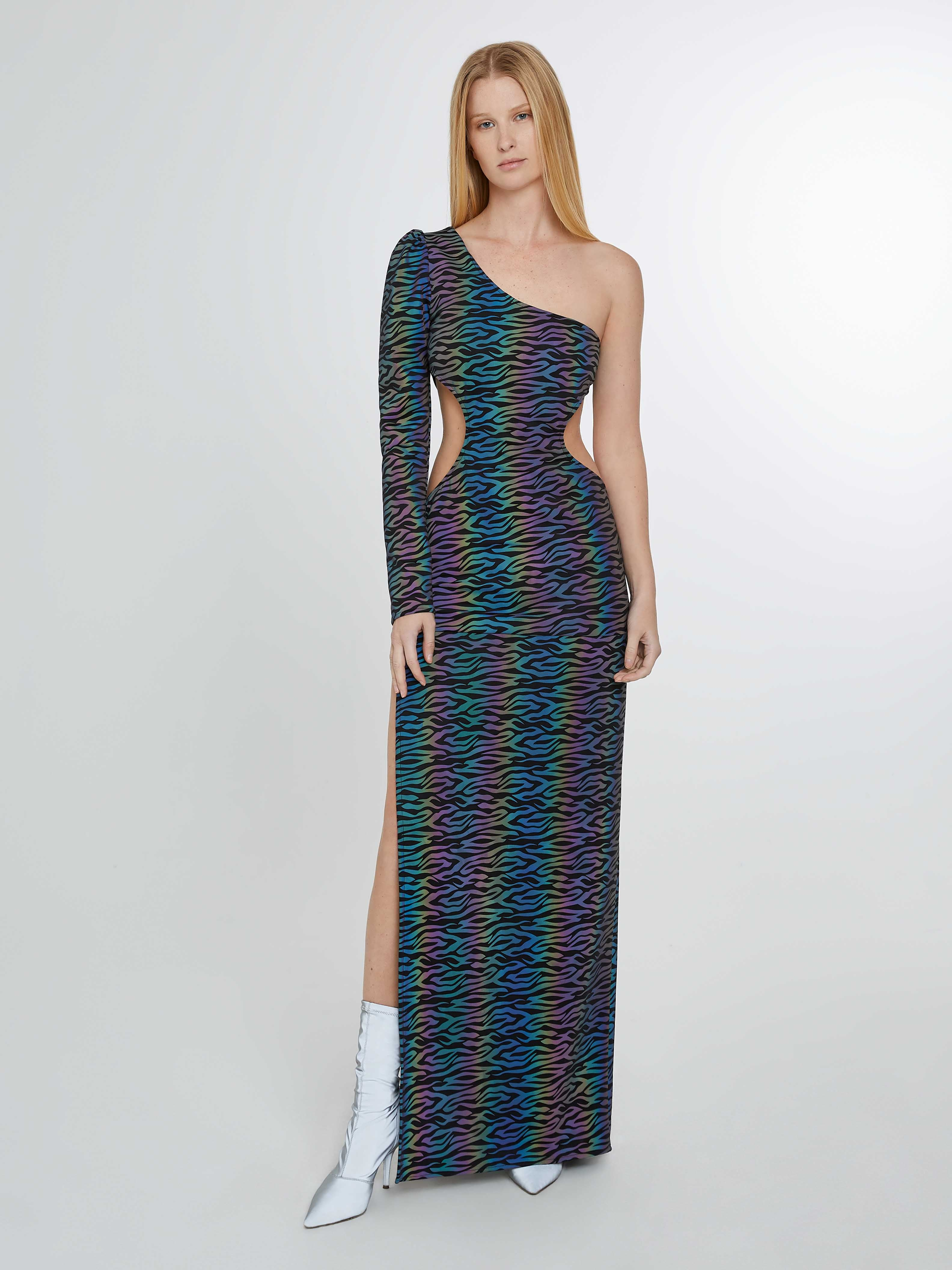 Zebra rainbow reflective long dress with slit