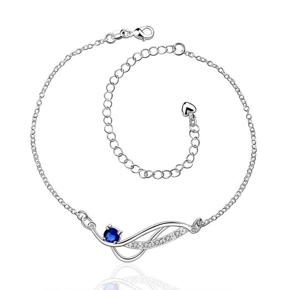 HOT! silver plated Anklets,925 fashion Silver jewelry charm Anklets blue rhinestone foot chain Anklets for women SA036-D