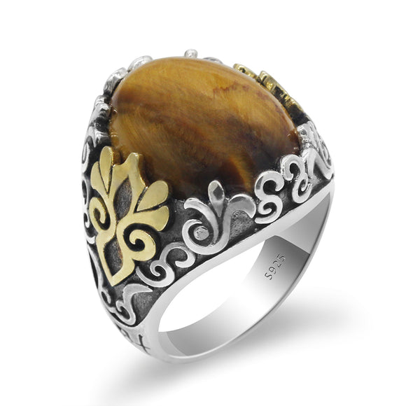 Handmade 925 Sterling Silver Mens Ring With Natural Tiger Eye Stone Oxidized Silver Ring Turkish men's Fashion Jewelry