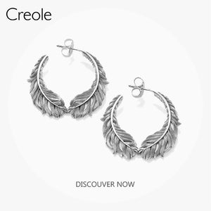 Hinged Hoops Earrings Feathers,2019 Summer Accessories Fashion Jewelry 925 Sterling Silver Ethnic Daily Basics Gift For Women