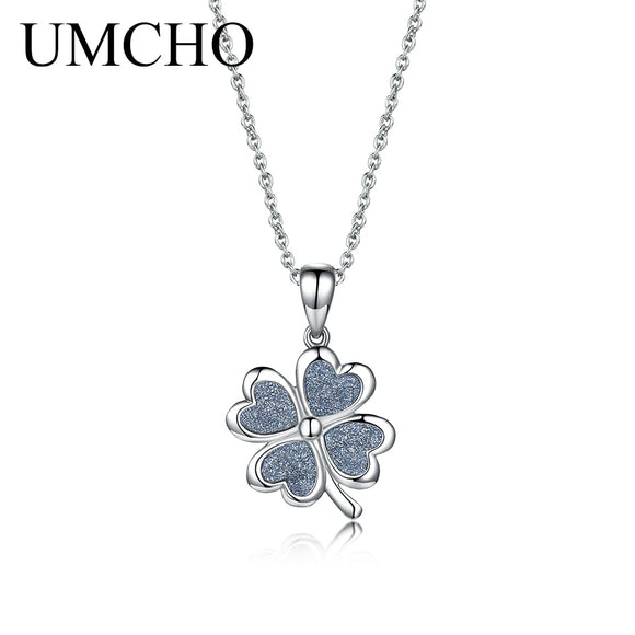 UMCHO Silver Four-leaf Clover 925 Sterling Silver Necklace Pendants For Women Girl Birthday Present Decoration Fine Jewelry