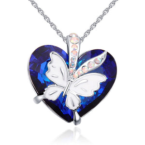 Fashion Blue Heart Pendant Necklace Crystals From Swarovski Butterfly Necklaces & Pendants For For Valentine'S Day Gift Of Love
