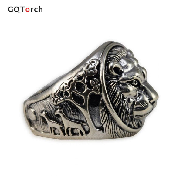 Solid 925 Sterling Silver Mens Lion Ring Vintage Punk Rings For Men