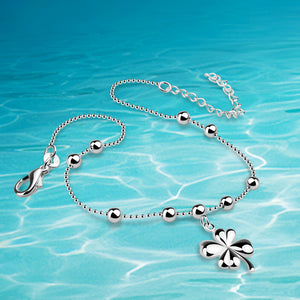 Anklets!925 sterling silver woman anklets;Ms exquisite gift.  clover pendant foot anklet 27cm long