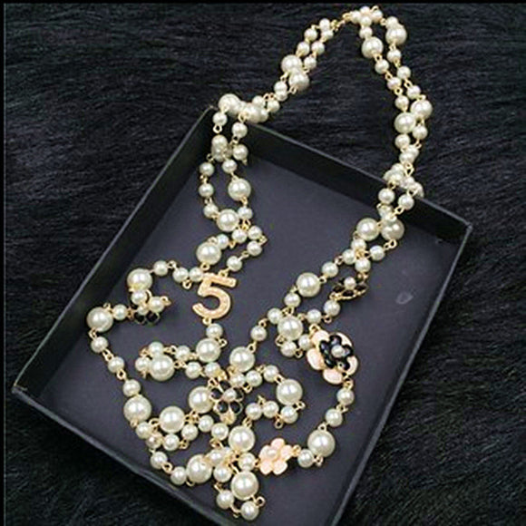 XL20  jewelry famous brand neckless flowers long pearl sautoir collier femme perle necklace collares largos women accessories