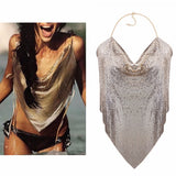 Metal Mesh Body Chain Maxi Jewelry Shiny Sequins Bra Body Jewelry  Women bodychain big statement jewelry