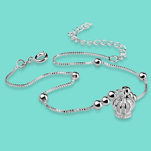 Fashion 925 sterling silver anklets for woman special Crown pendant design Solid silver chains Not allergic lady Silver jewelry