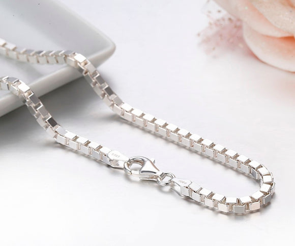 7Size Available Real Pure 925 Sterling Silver Box Chain Necklace Women Men Jewelry collier kolye collares off white ketting 3mm