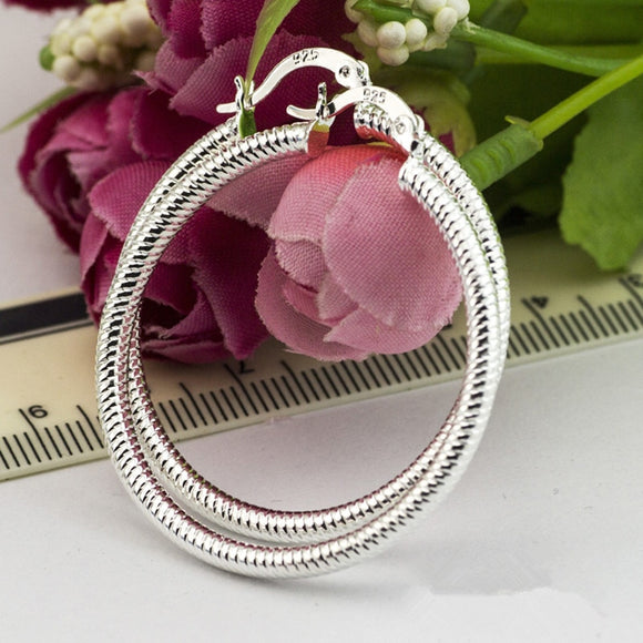 925 Sterling Silver Hoop Ear Ring ForWomen Large Luxury Design Good Quality Vintage Wedding Jewelry Size.40mm Eh001