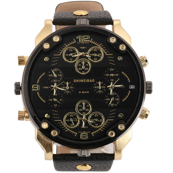 Shiweibao Cool Mens Watches Top Brand Luxury Quartz Watch For Men Four Time Zones Military Wristwatches Leather Relojes Hombre